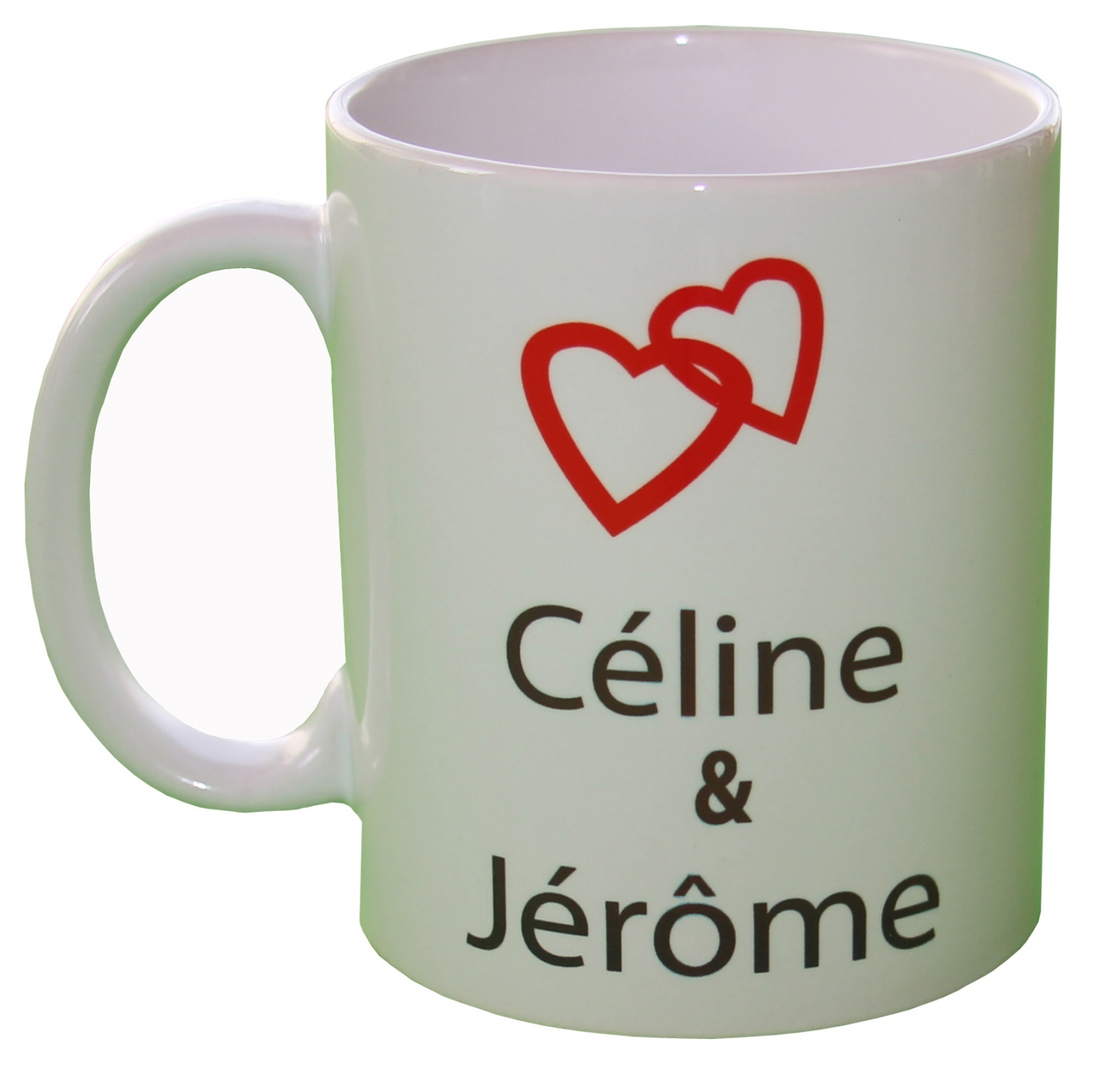 mug personnalis pr noms et coeur id e cadeau saint valentin. Black Bedroom Furniture Sets. Home Design Ideas