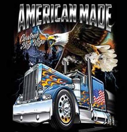 T-shirt homme manches courtes Camion routier USA aigle - 1242 - Big rigs - American trucker