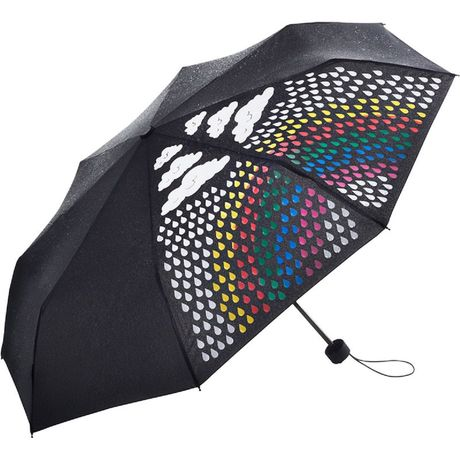 Parapluie de poche magic - FP5042C - noir - arc en ciel