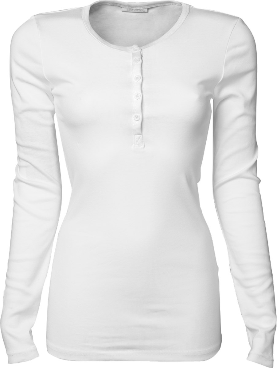 t shirt henley tunisien femme 680 blanc manches longues col boutonn. Black Bedroom Furniture Sets. Home Design Ideas