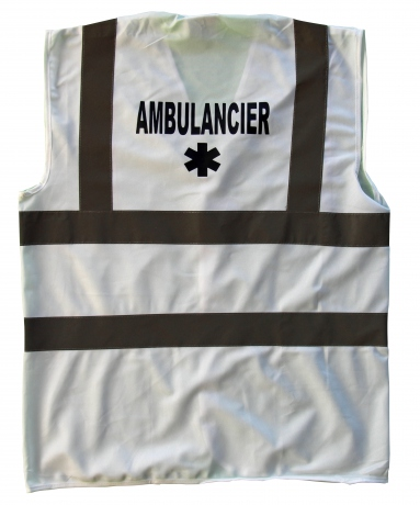 Chasuble - Gilet de sécurité - ambulancier  - blanc