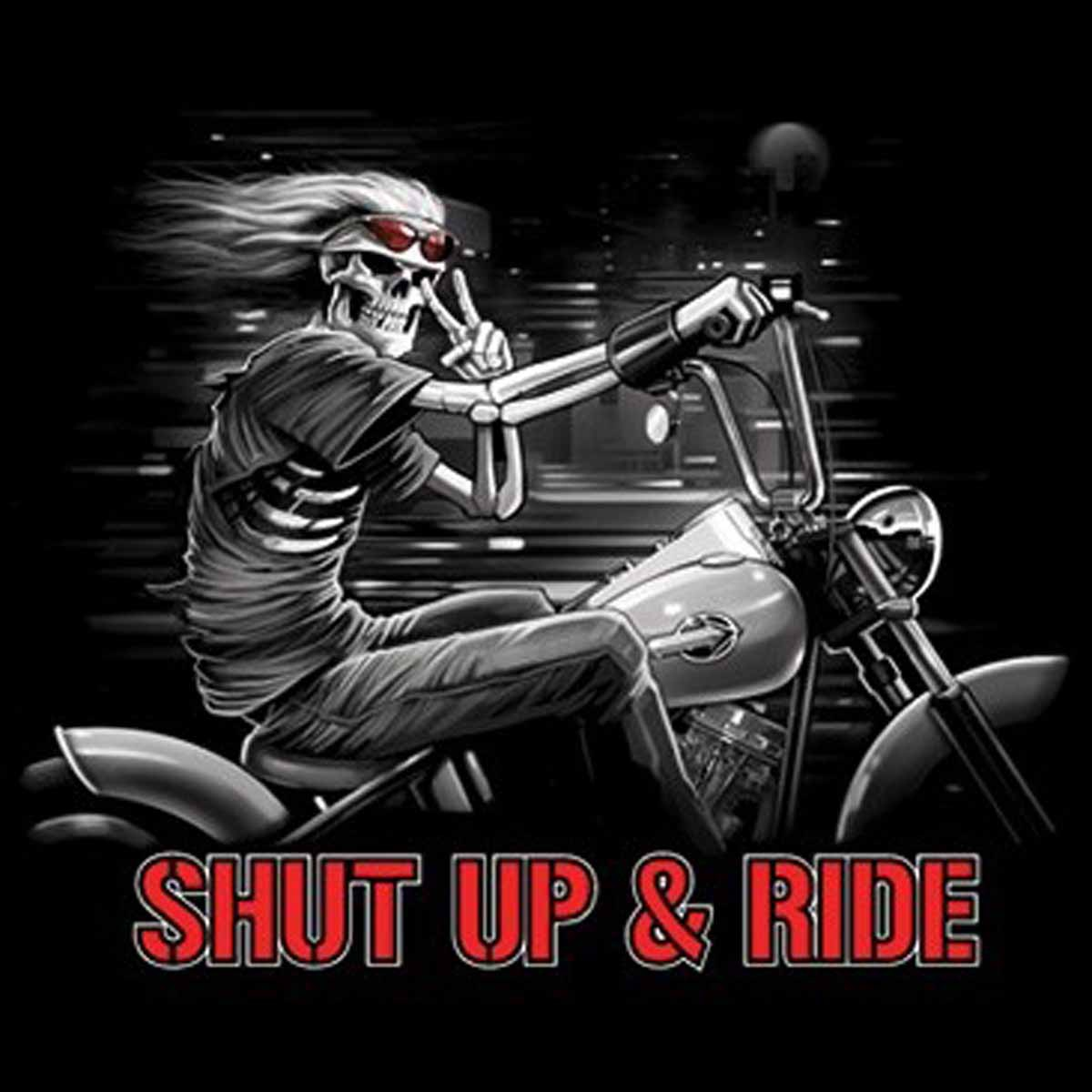 T-shirt HOMME manches courtes - Moto squelette - Shut up and ride - 8879 - noir
