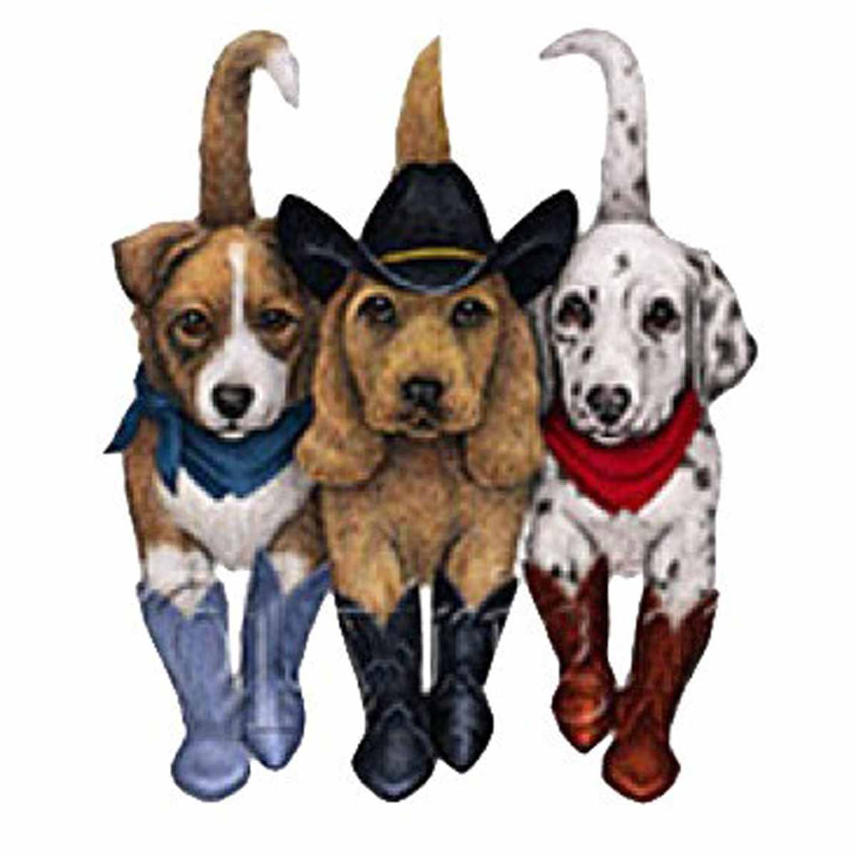 T-shirt FEMME manches courtes - Country Chiens cowboys - 8004 - blanc