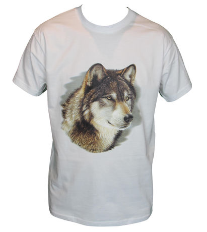 T-shirt HOMME manches courtes - Loup - 11443 - Blanc