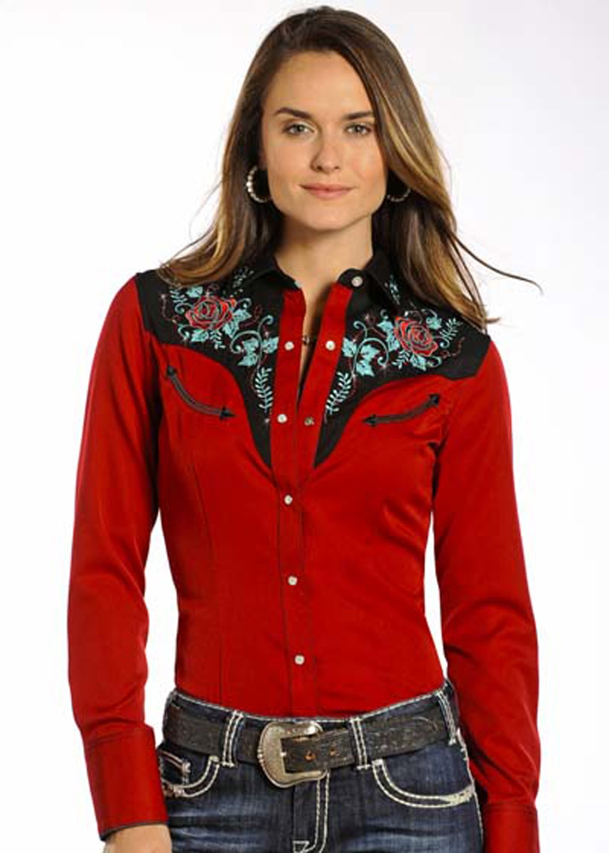 552e9c507269b Chemise femme country rouge - Bullhorn- chemisier western broderies -  PANHANDLE