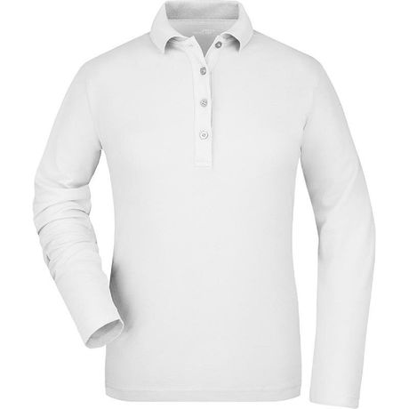Polo manches longues FEMME JN180 - blanc