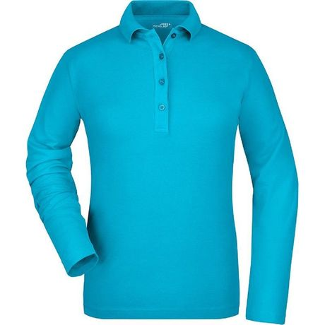 Polo manches longues FEMME JN180 - bleu turquoise