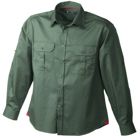 chemise manches longues unie - 2 poches poitrine - JN604 - HOMME - vert olive