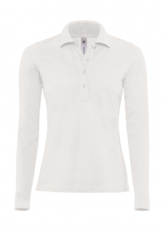 Polo femme manches longues - PW456 - blanc