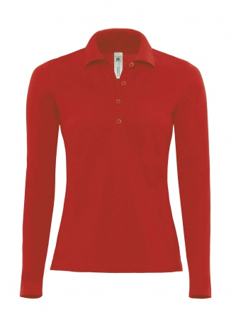 Polo femme manches longues - PW456 - rouge
