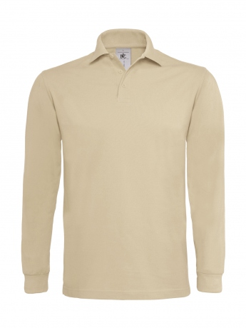 Polo lourd homme manches longues - PU423 - beige sable