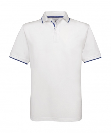 Polo manches courtes inserts contrastés - homme - PU413 - blanc