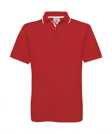 Polo manches courtes inserts contrastés - homme - PU413 - rouge