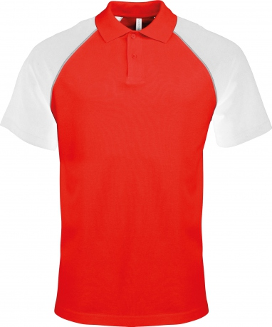 Polo bicolore baseball homme - K226 - rouge - blanc - manches courtes