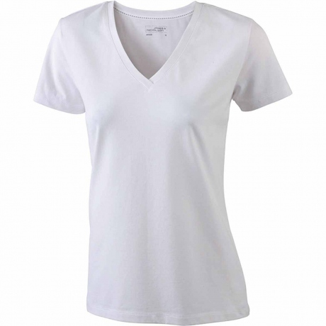 T-shirt col V - extensible - JN928 - BLANC - femme - manches courtes