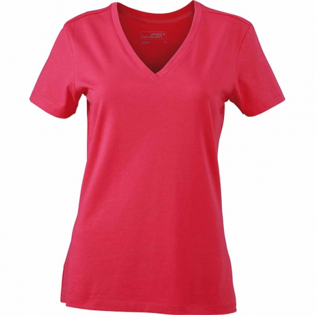 T-shirt col V - extensible - JN928 - ROSE - femme - manches courtes