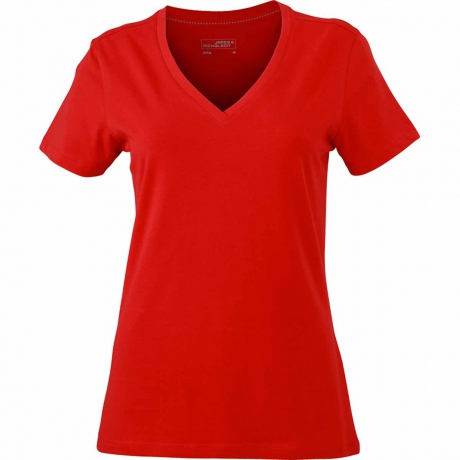 T-shirt col V - extensible - JN928 - ROUGE - femme - manches courtes