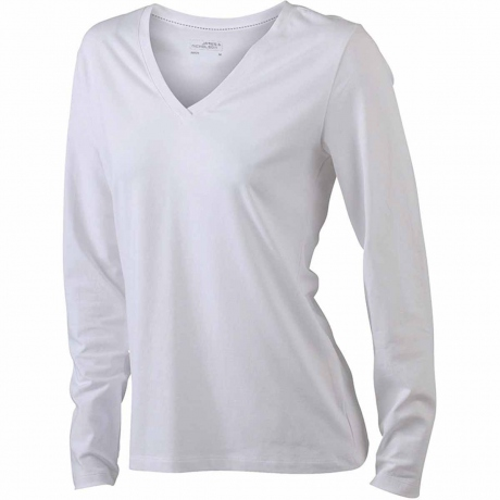 T-shirt col V - extensible - JN929 - BLANC - femme - manches longues