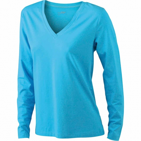 T-shirt col V - extensible - JN929 - BLEU TURQUOISE - femme - manches longues