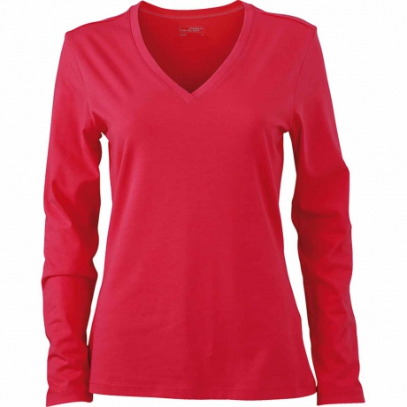T-shirt col V - extensible - JN929 - ROSE - femme - manches longues