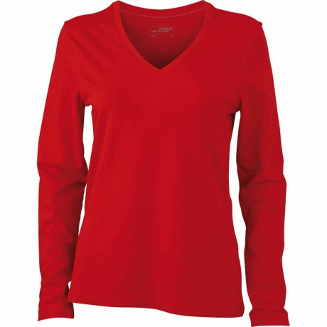 T-shirt col V - extensible - JN929 - ROUGE - femme - manches longues