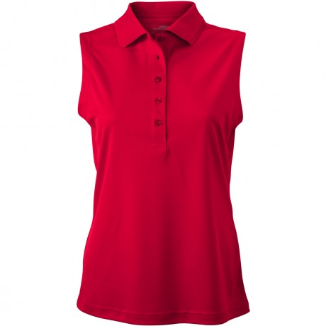 Polo micro-polyester FEMME JN575 - rouge - sans manches