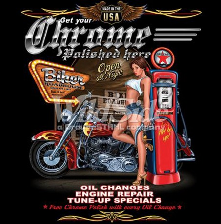 T-shirt FEMME manches courtes - Moto biker USA pin-up - 10167E