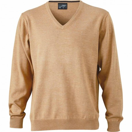 Pull classique col V - HOMME - JN659 - beige