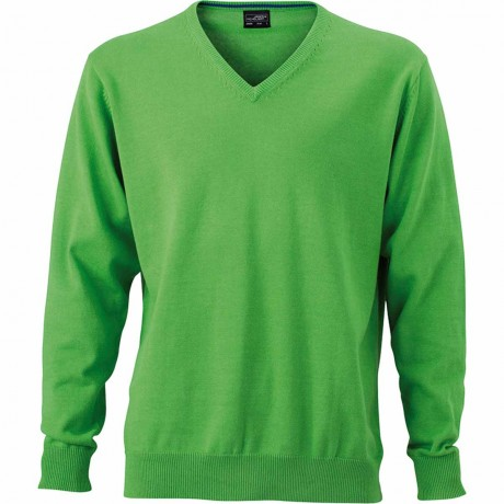 Pull classique col V - HOMME - JN659 - vert clair