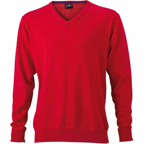 Pull classique col V - HOMME - JN659 - rouge