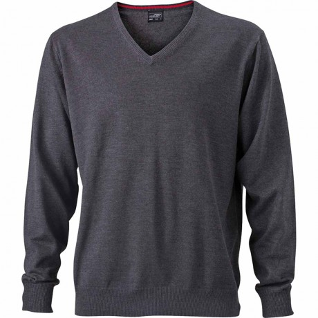 Pull classique col V - HOMME - JN659 - gris anthracite