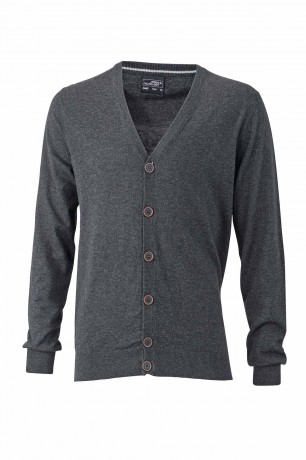 Pull boutonné cardigan cachemire - HOMME - JN668 - gris anthracite