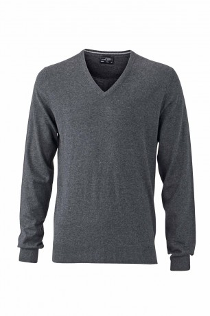 Pull classique cachemire col V - HOMME - JN664 - gris anthracite