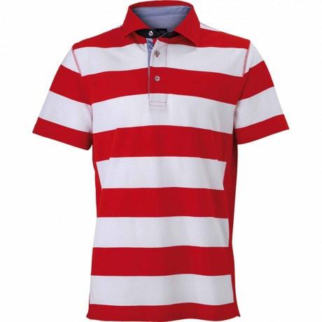 Polo homme rayures - JN984 - rouge
