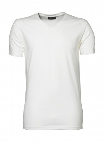 T-shirt manches courtes Homme col V stretch - 401 - blanc