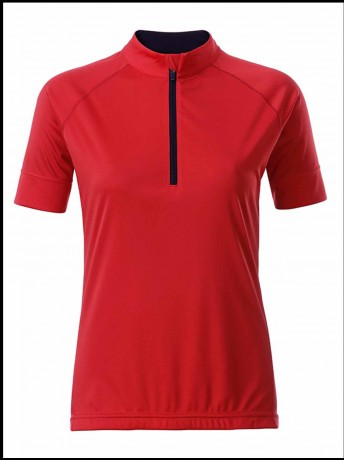 maillot cycliste demi zip - FEMME - JN513 - rouge tomate