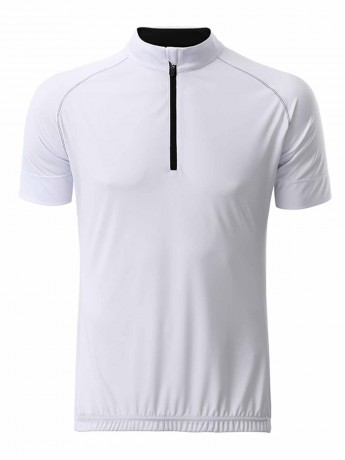 maillot cycliste demi zip - HOMME - JN514 - blanc
