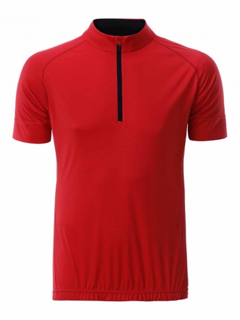 maillot cycliste demi zip - HOMME - JN514 - rouge tomate