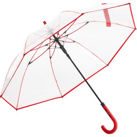 Parapluie canne transparent - FP7112 - bord rouge