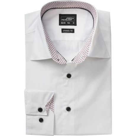 chemise manches longues - JN648 - HOMME - blanc - rouge