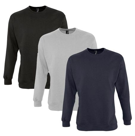 Lot 3 sweat-shirts noir - bleu marine - gris chiné