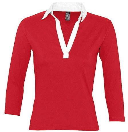 Polo rugby manches longues FEMME - 11329 - rouge