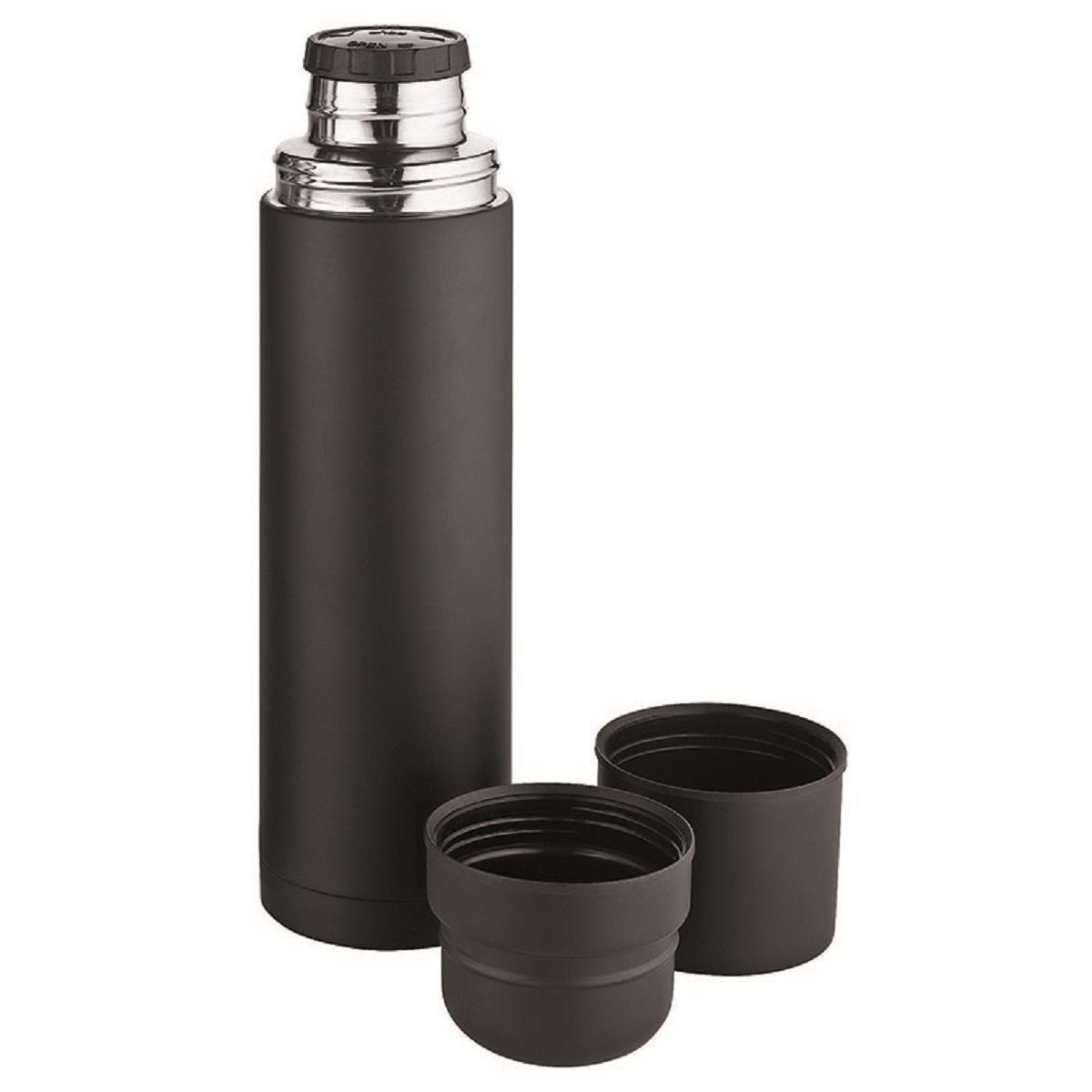 Isotherme Bouteille 00 733 Noir Avec 2 Thermos Gobelets 0POknw