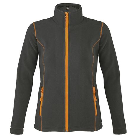 Veste micropolaire zippée femme - 00587 - gris anthracite et orange
