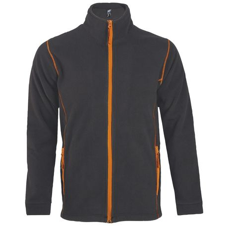 Veste micropolaire zippée homme - 00586 - gris anthracite et orange