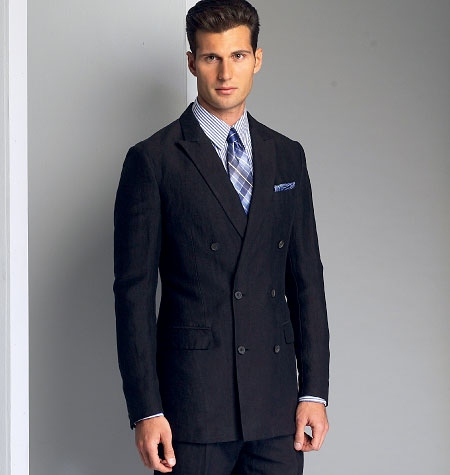 Patron Vogue 8988 Costume homme veste simple ou double boutonnière