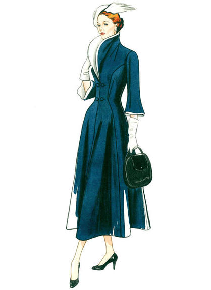 Patron Vogue 9280 Robe femme Vintage 1940's Fourties Col large