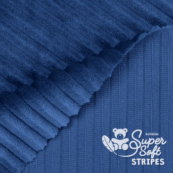 Coupon Tissu Peluche SuperSoft STRIPES marine