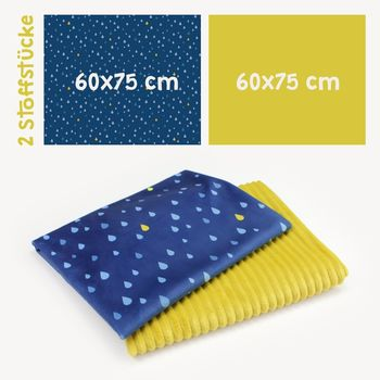 2 Coupons Tissu Peluche SuperSoft STRIPES moutarde/marine
