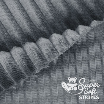 Coupon Tissu Peluche SuperSoft STRIPES gris